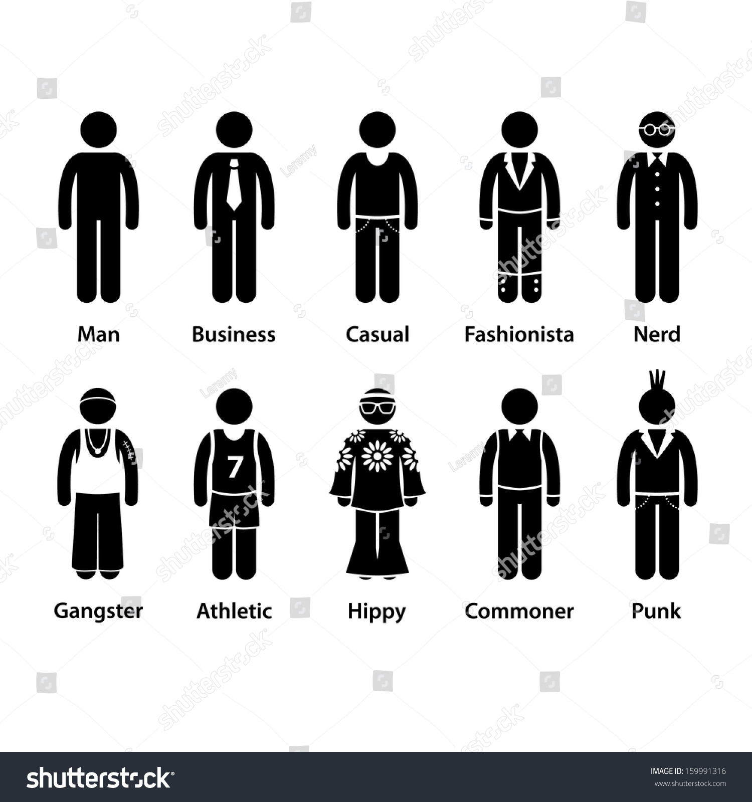 people man human character type business stock vector  people man human character type business casual punk nerd gangster athletic hippy commoner fashionista stick figure
