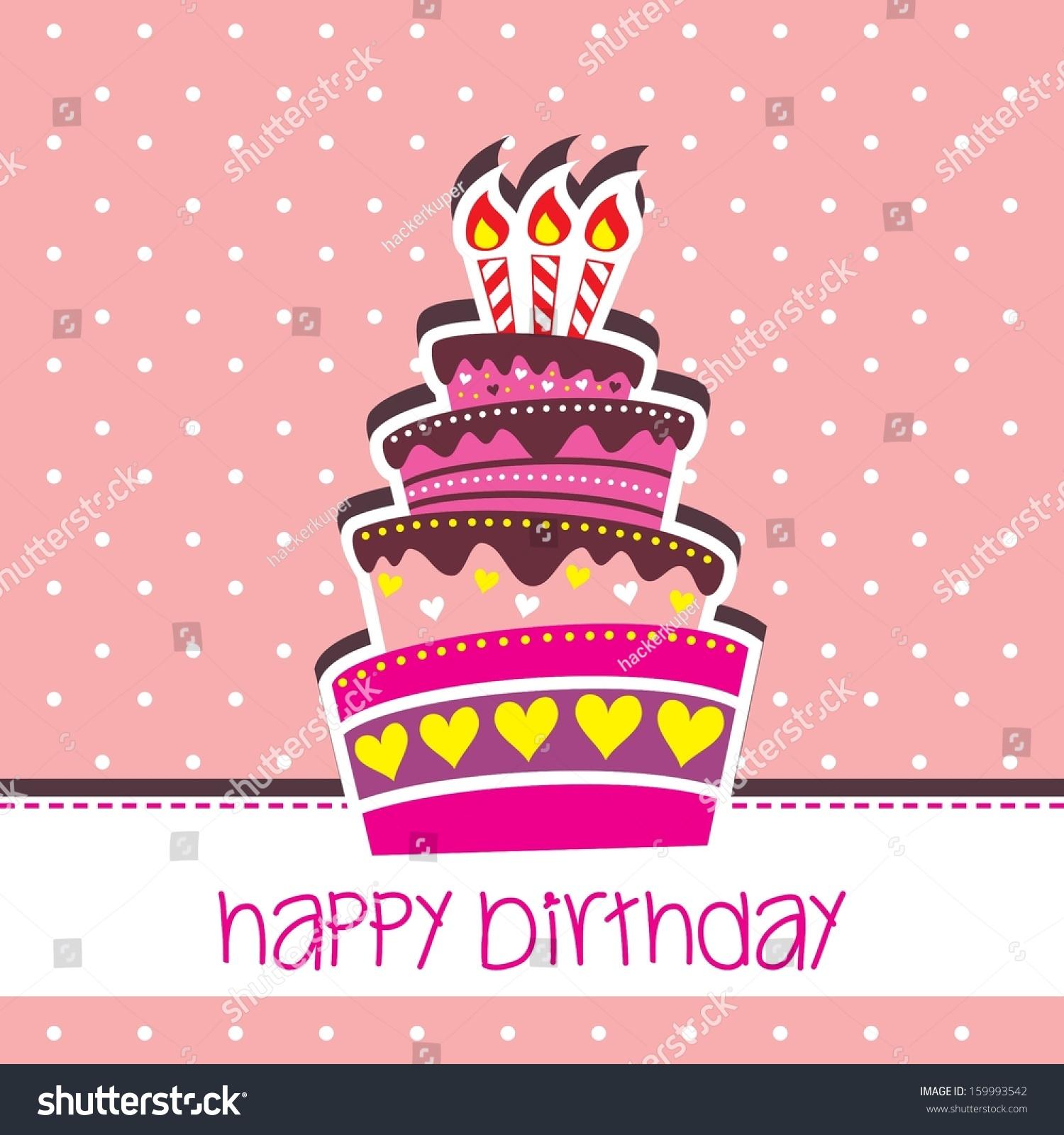 Delightful Happy Birthday Cake Card Vector Pink Stock Vector 159993542   Shutterstock Design