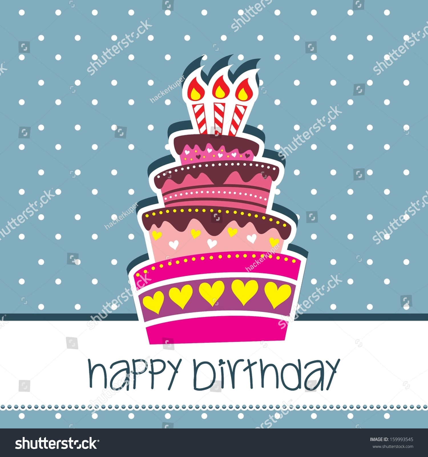 happy birthday cake card vector blue stock vector (royalty free
