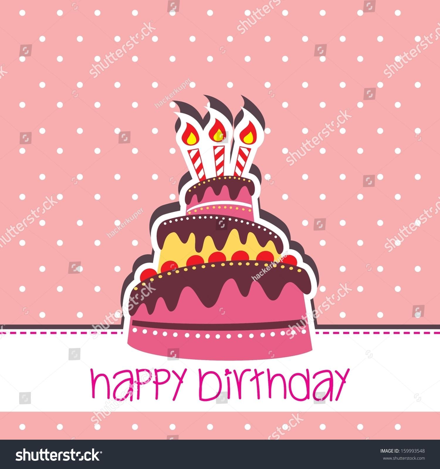 Wonderful Happy Birthday Cake Card Vector Pink Background Template Design Ideas