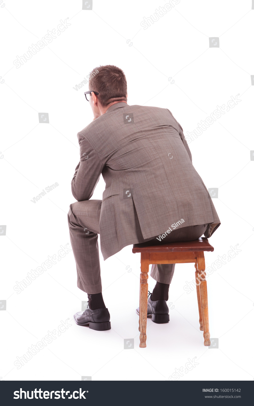 Back View Young Business Man Sitting Stock Photo 160015142