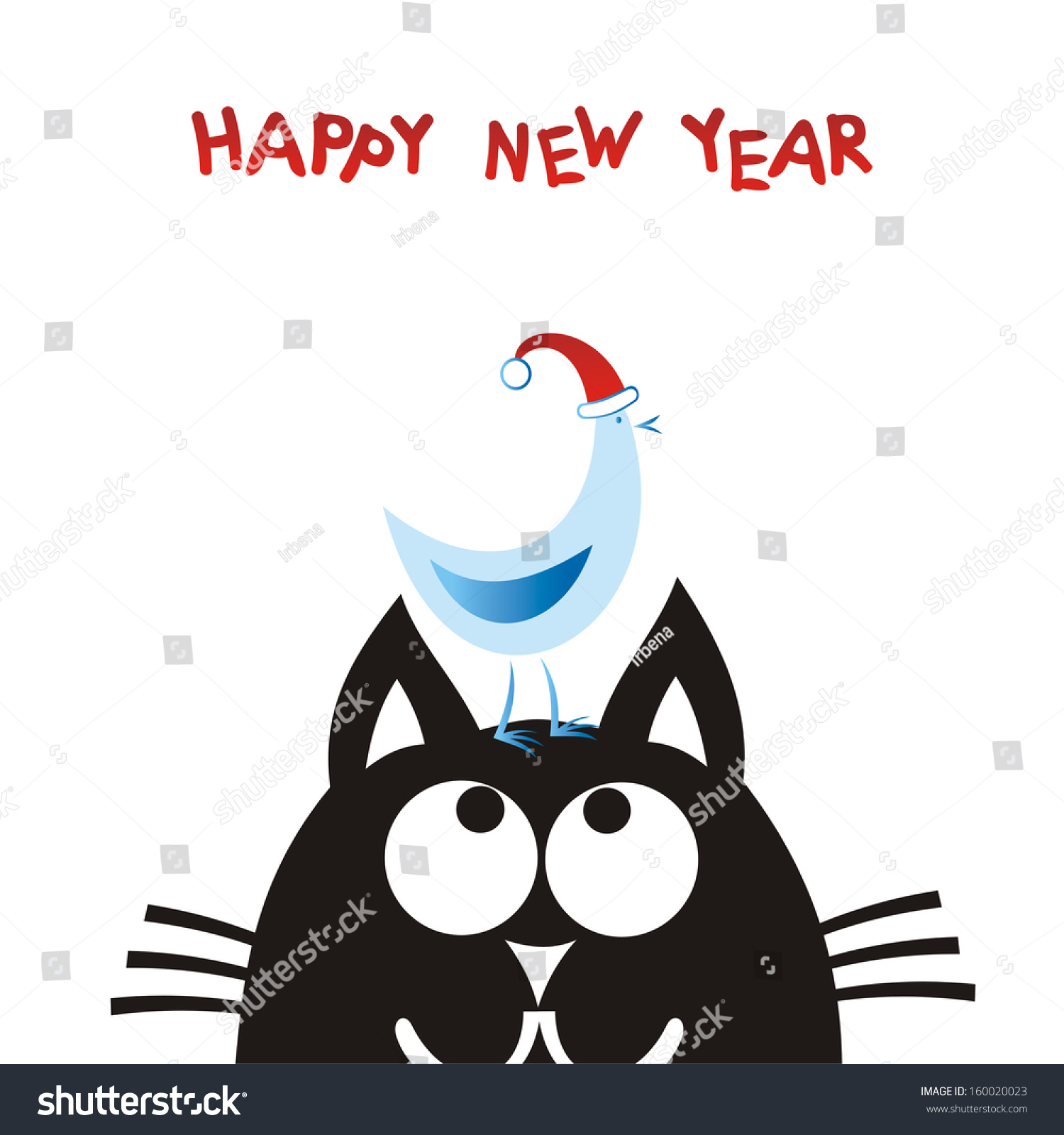happy new year card cat and bird vector illustration