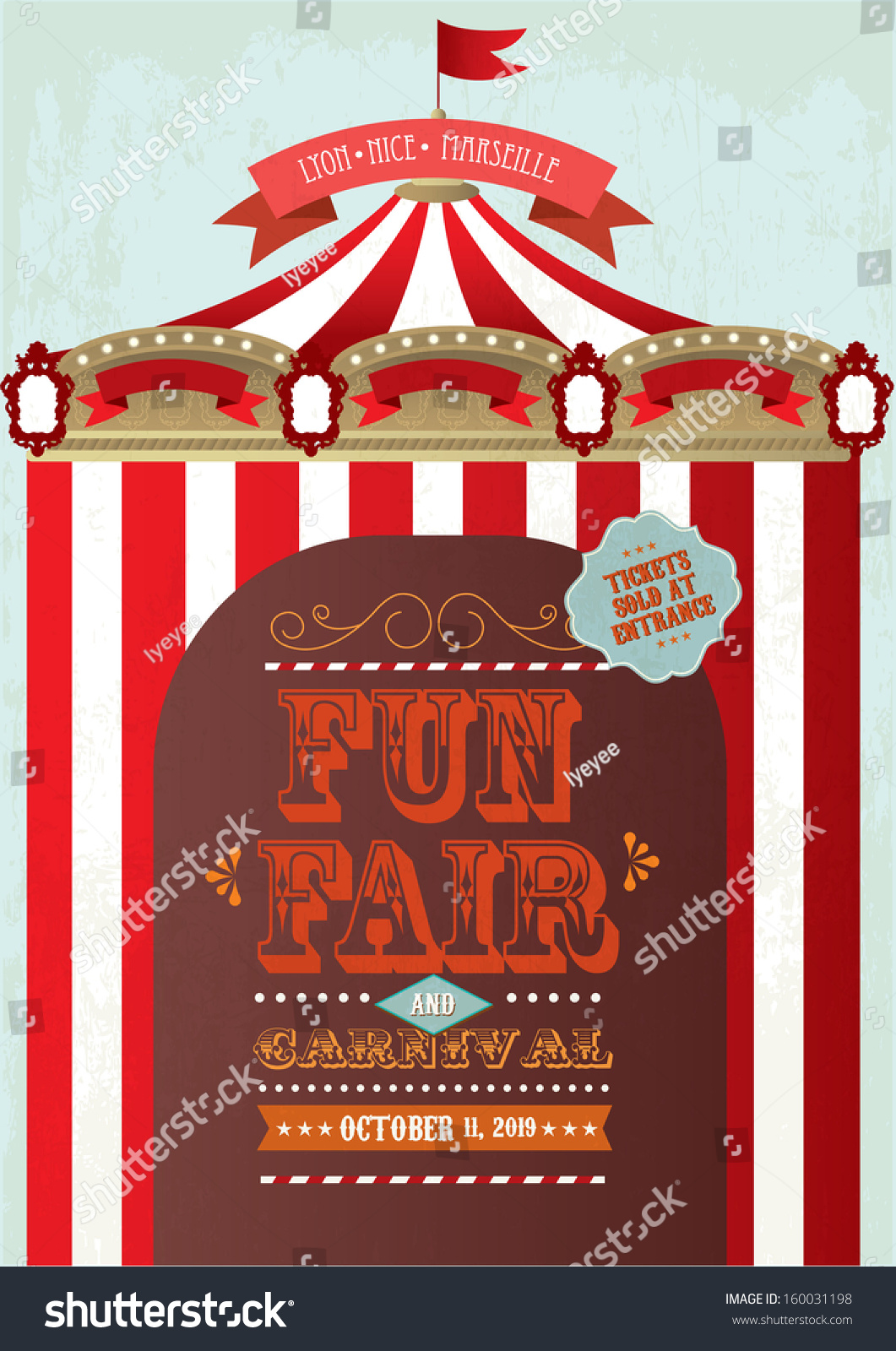 vintage fun fair and carnival tent poster template vector