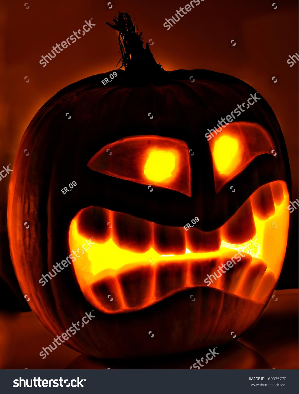halloween pumpkin head jack lantern scary stock photo 160035770