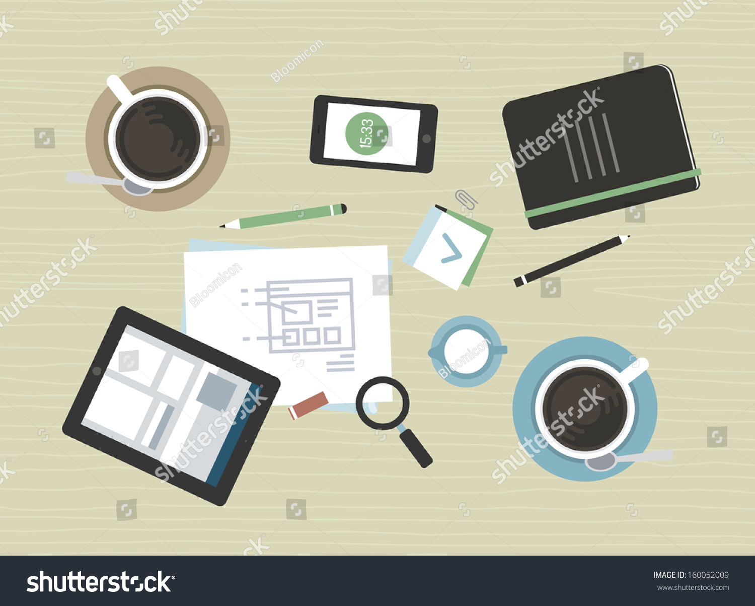 Flat design vector illustration concept of modern business for Table flat design