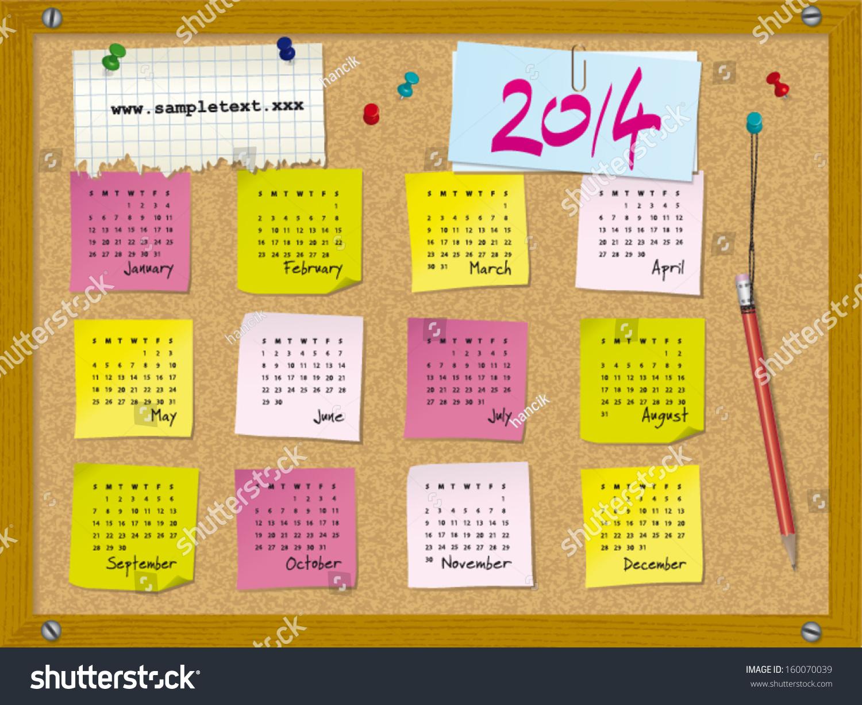 Calendar Illustration Board : Calendar week starts on sunday cork board with