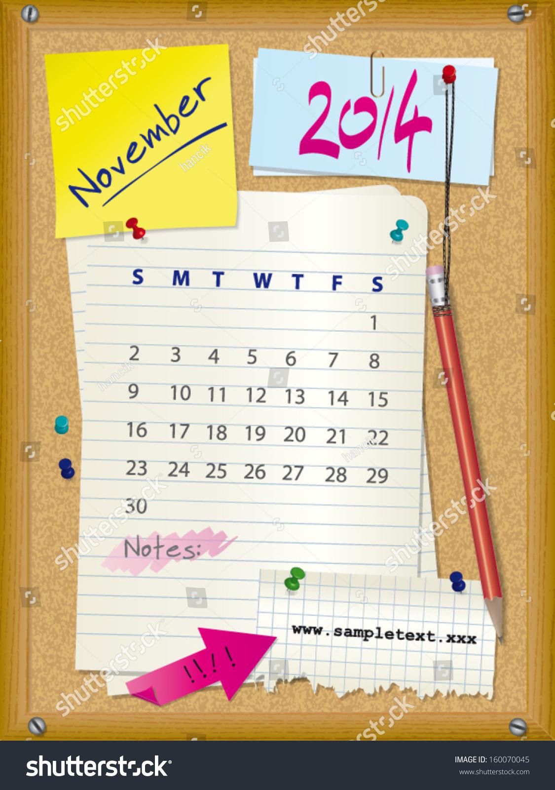 Calendar Illustration Board : Calendar month november cork board with notes