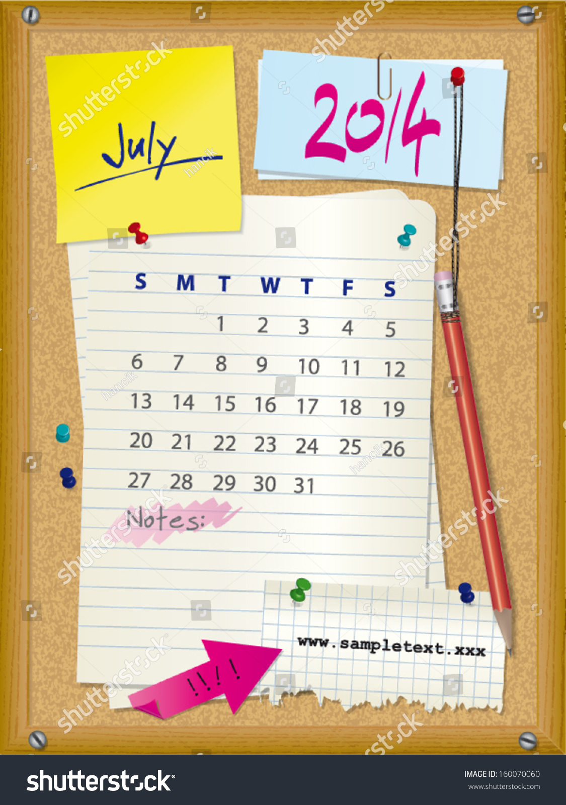 Calendar Illustration Board : Calendar month july cork board with notes