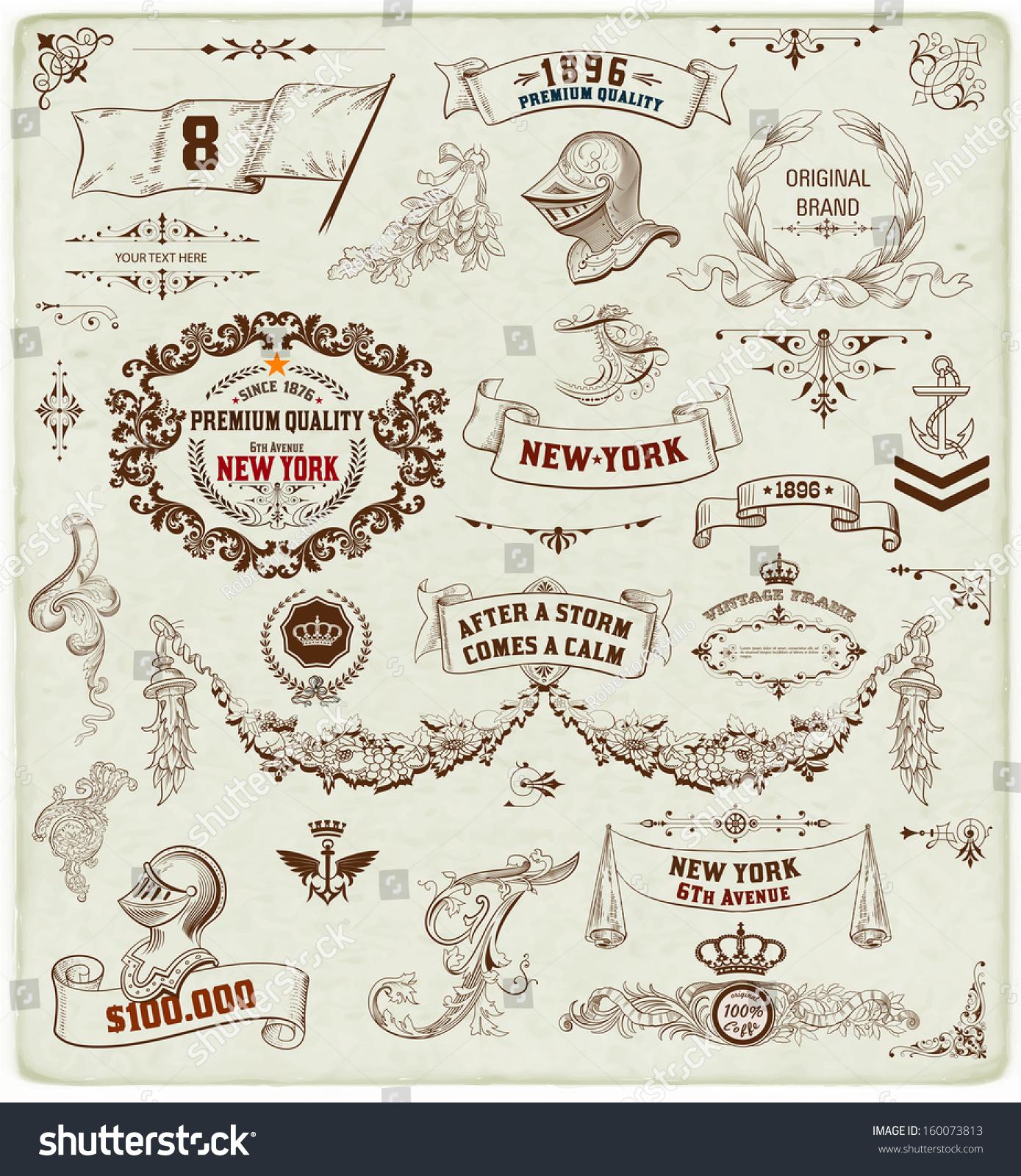 Set calligraphic design elements heraldry labels stock for Baroque design elements