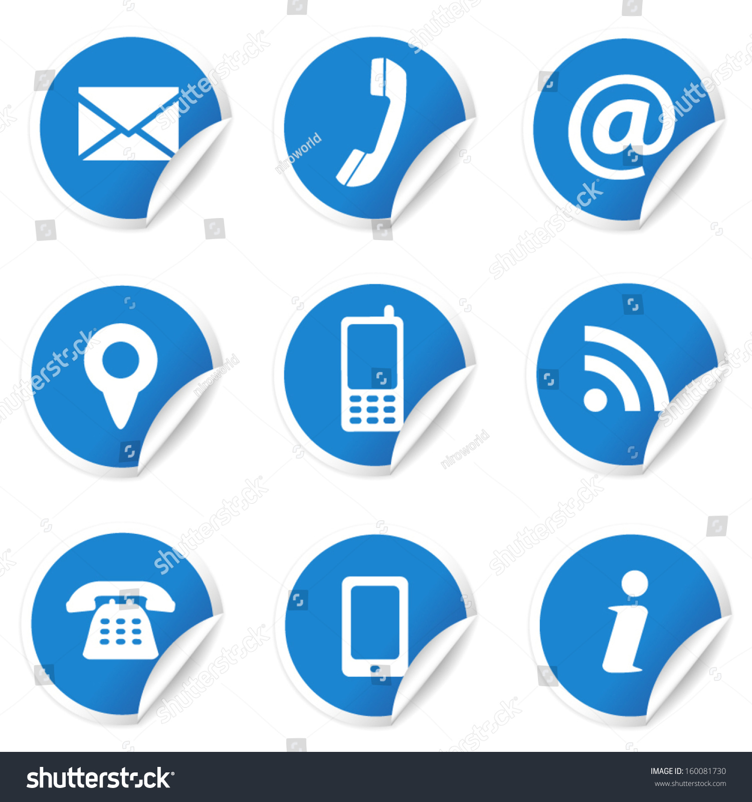 Web Internet Contact Us Icons Set Stock Vector 160081730