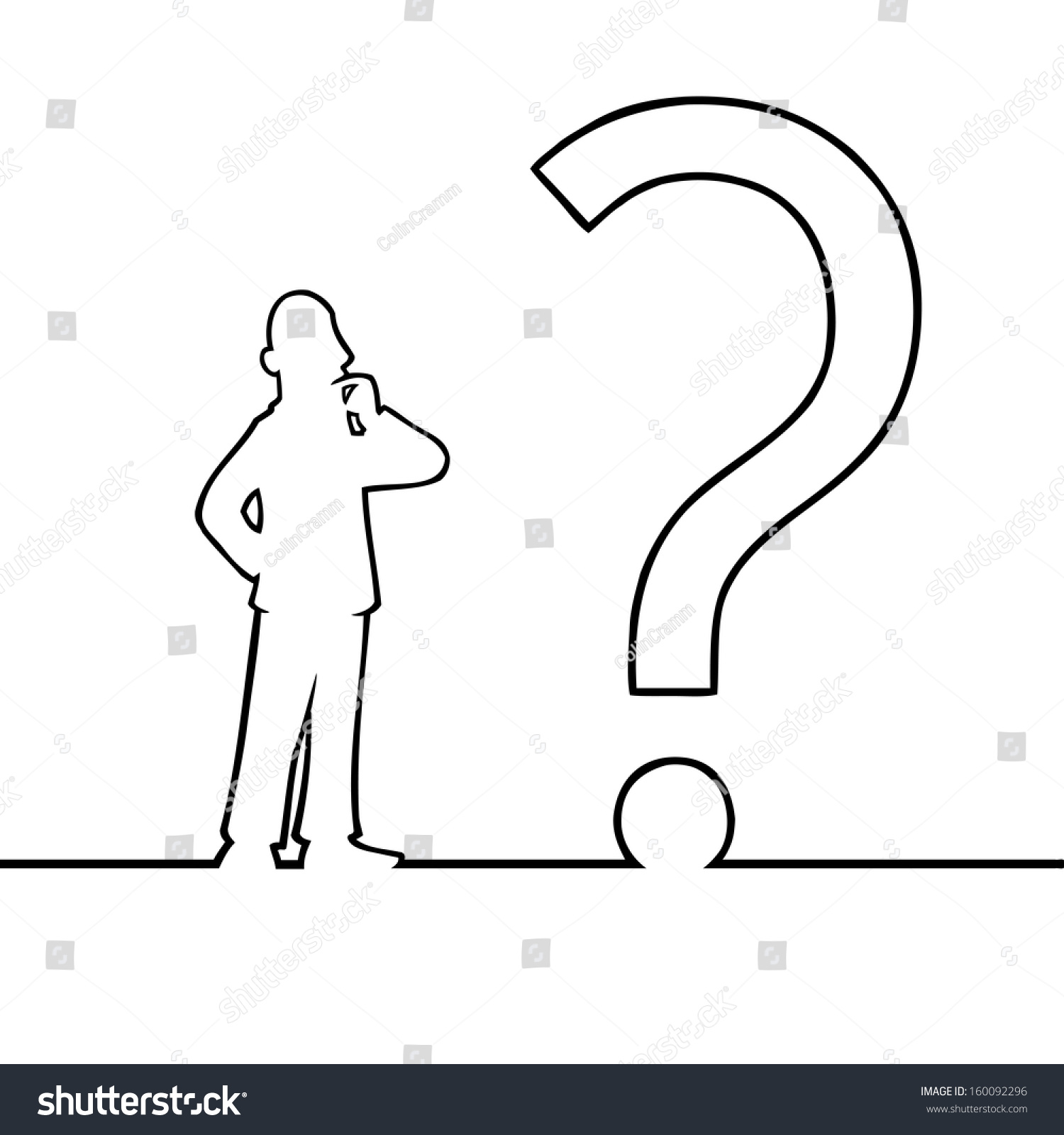 Line Drawing Question Mark : Black line art illustration man looking stock vector