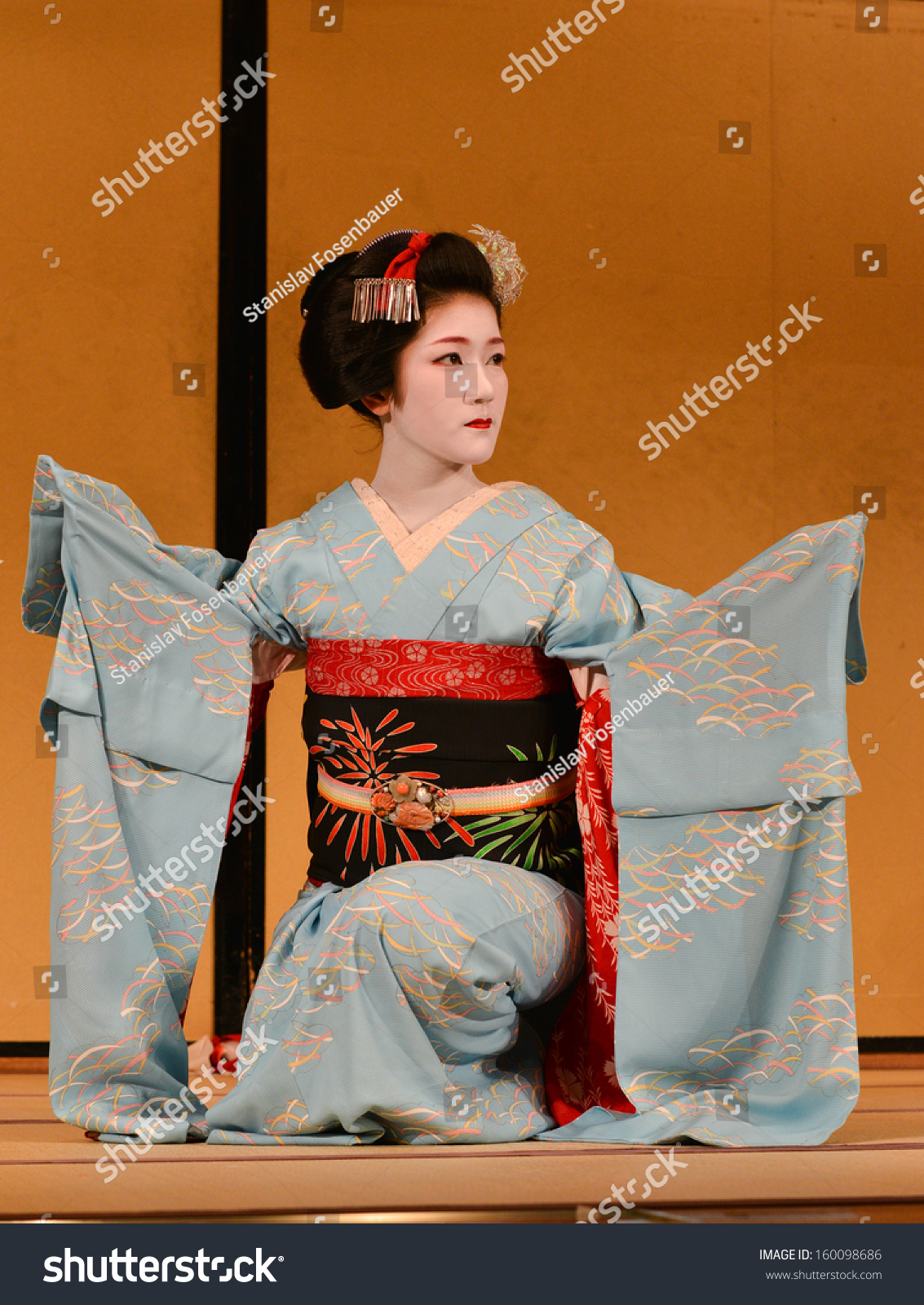 KYOTO, JAPAN Â?Â? AUGUST 13: Dancer dressed as geisha is performing