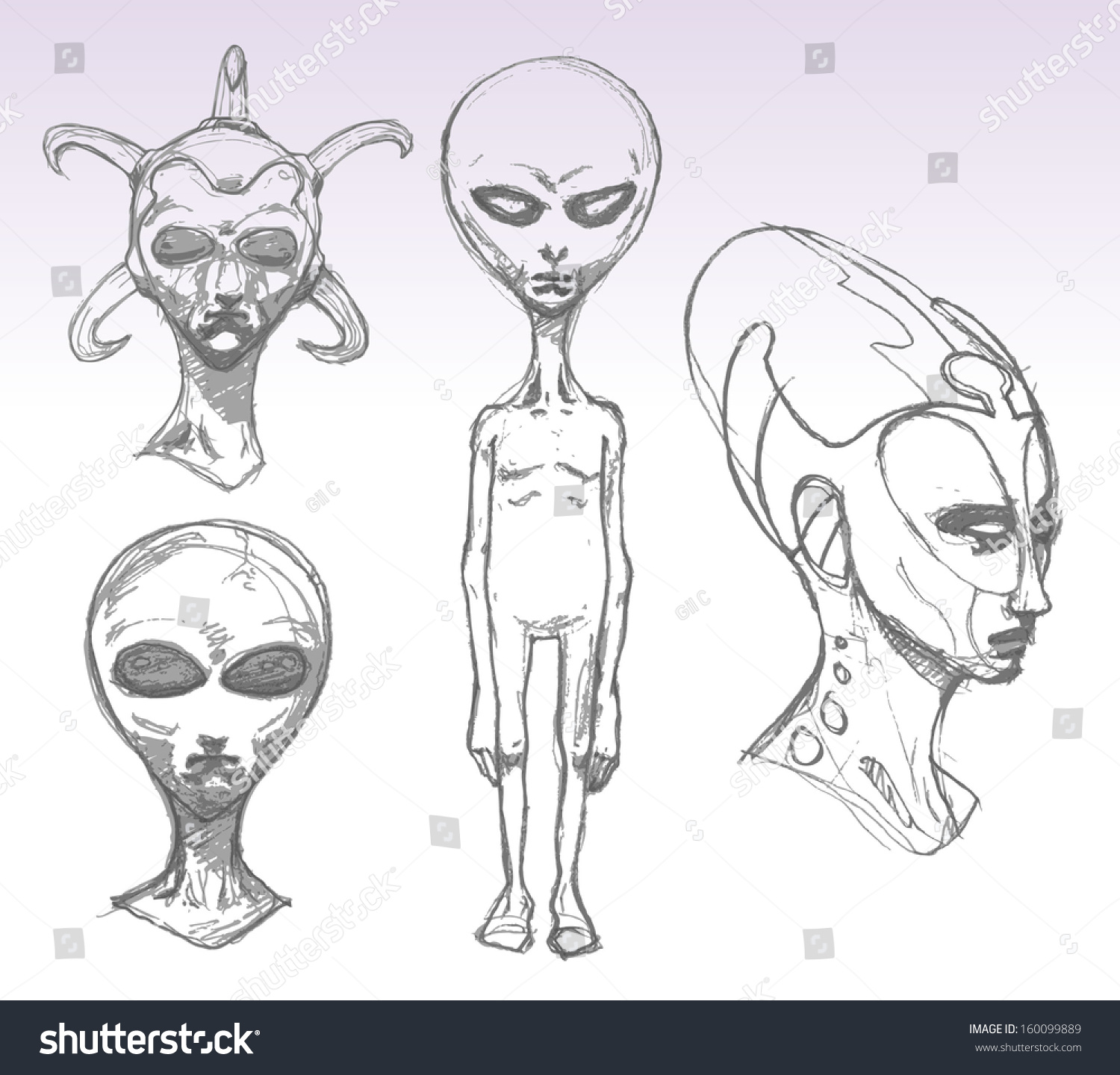 Set Alien Portraits Pencil Drawing Sketch Stock Vector (Royalty Free ...
