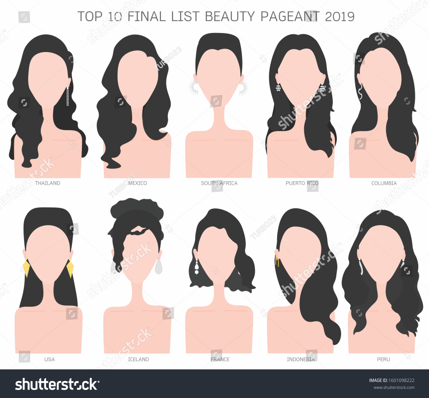 Cartoon Flat Character Hairstyle Top 10 Stock Vector Royalty Free 1601098222