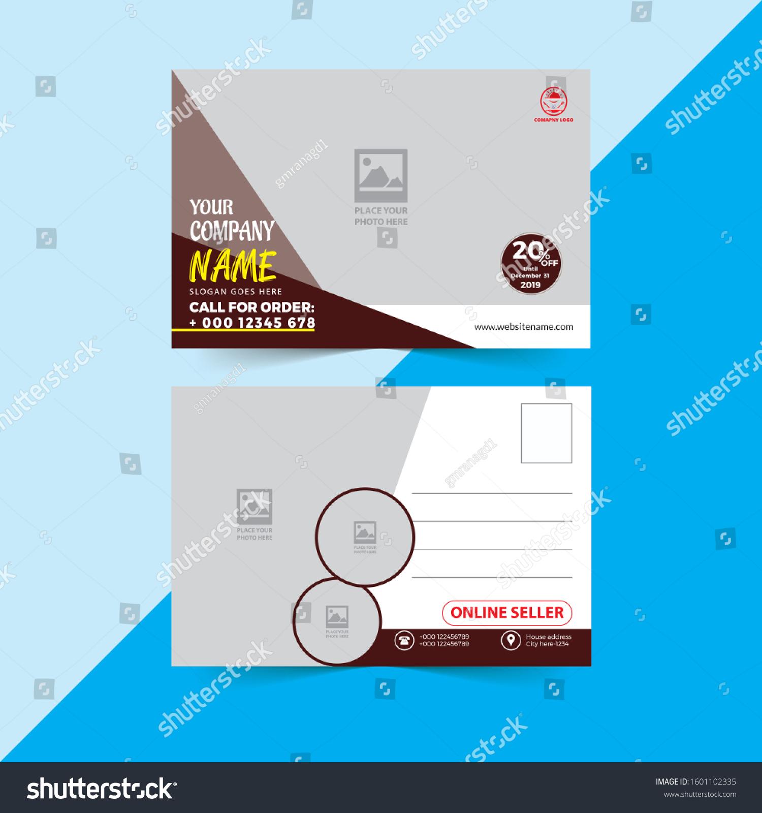 Corporate Professional Beautiful Business Postcard Design Stock Vector  (Royalty Free) 1601102335