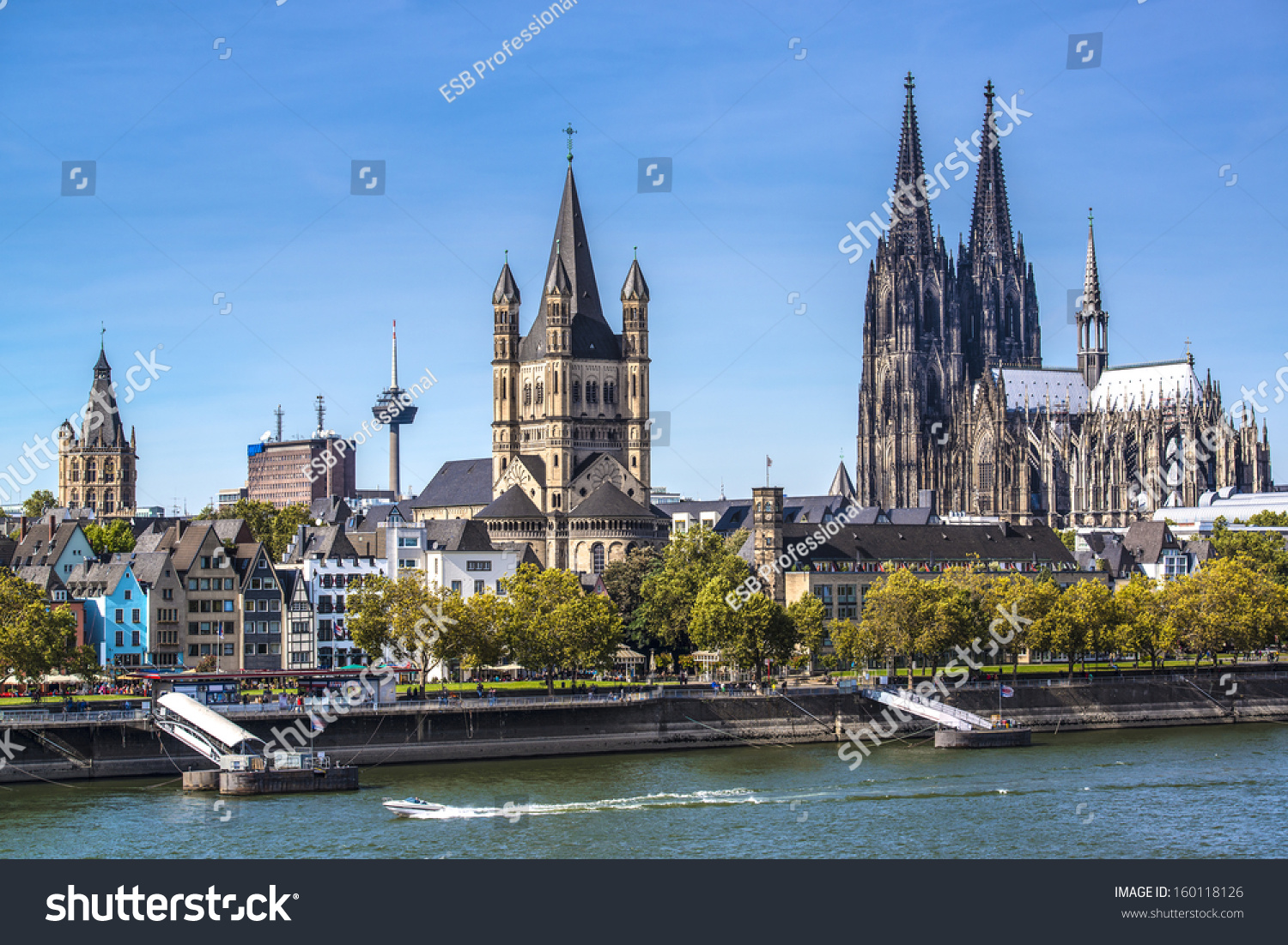 cologne germany aerial view over rhine stock photo 160118126 shutterstock. Black Bedroom Furniture Sets. Home Design Ideas
