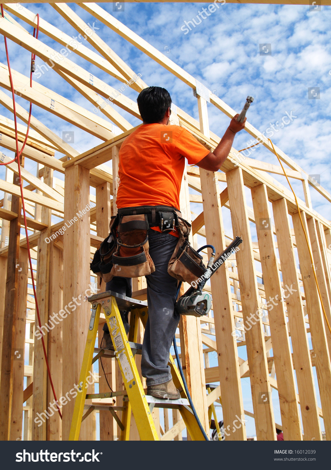 Construction Worker Tool Belt On Stands Stock Photo 16012039 ... for Worker Climbing Ladder  589ifm