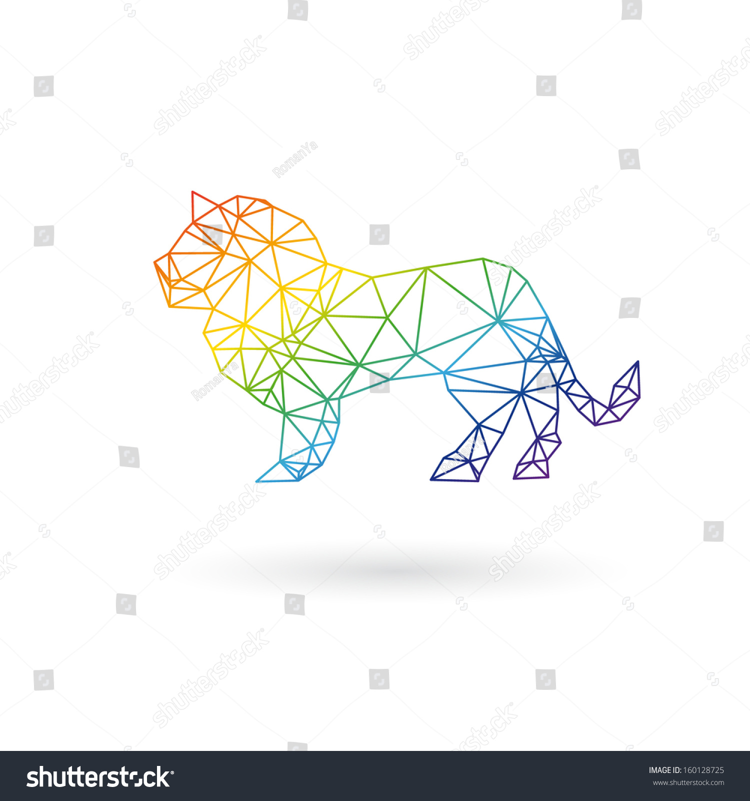 Lion Abstract Isolated On A White Backgrounds, Vector
