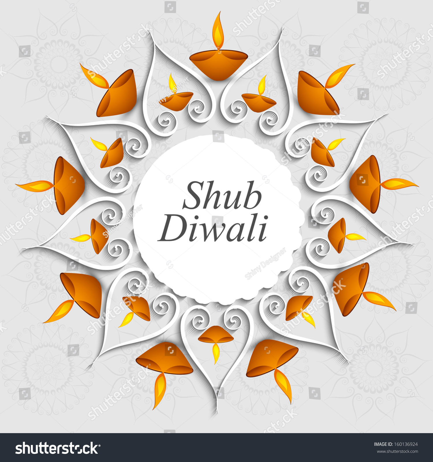 beautiful decoration diwali diya celebration vector stock vector