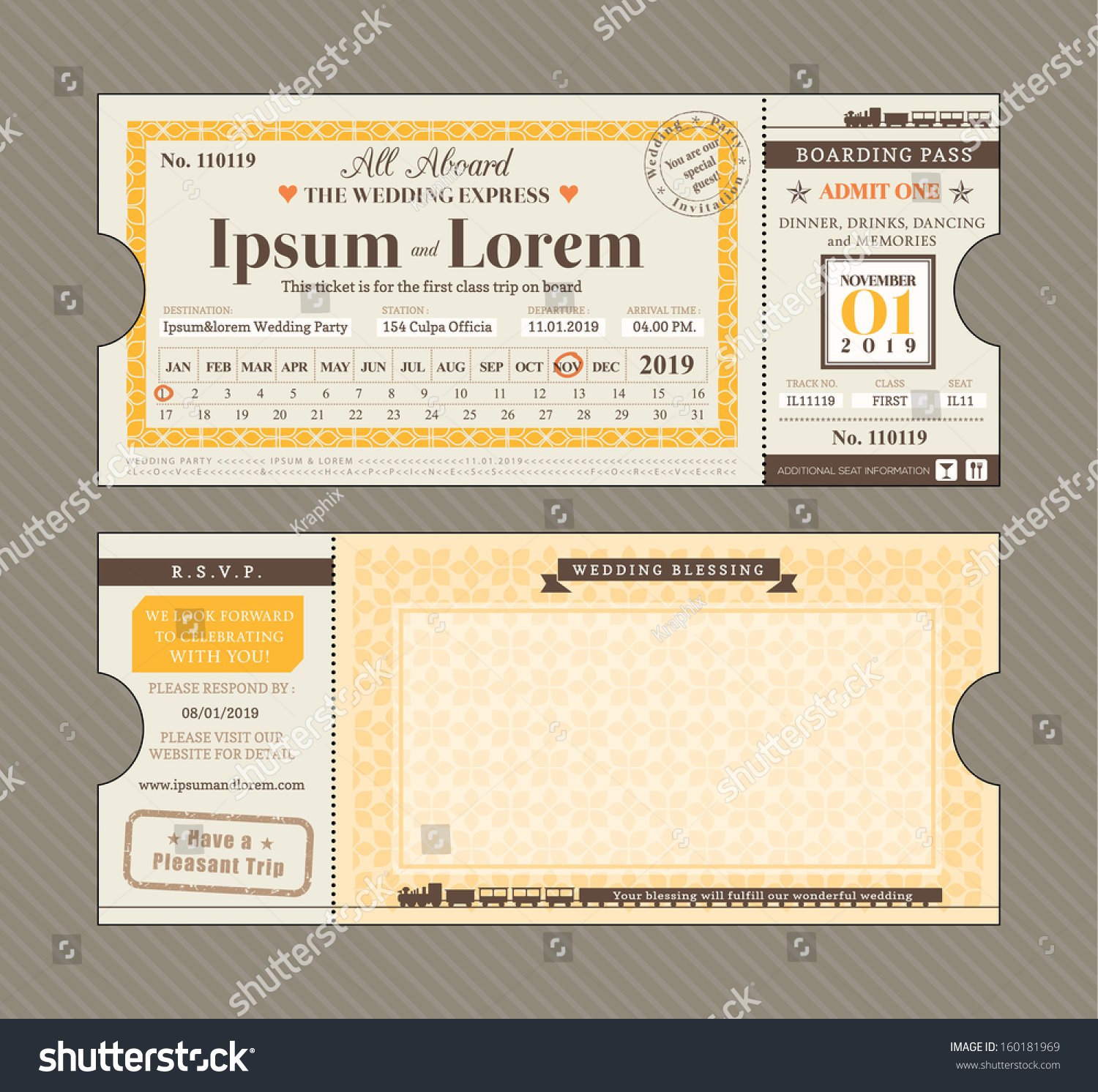 Vector Train Ticket Wedding Invitation Design Vector – Ticket Design Template