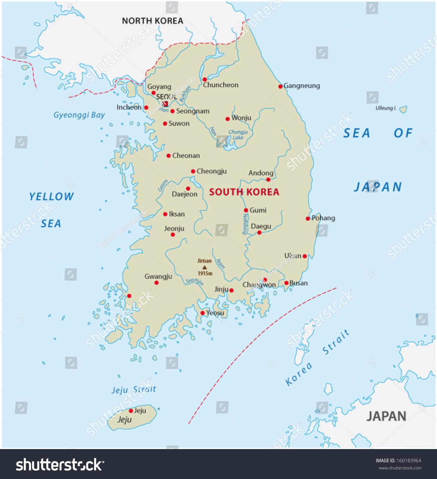 South Korea Map Stock Vector (Royalty Free) 160183964 - Shutterstock