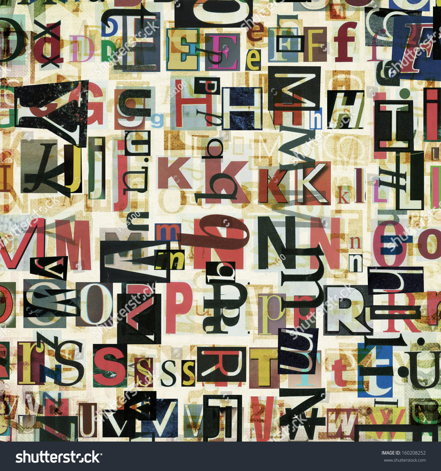 newspaper magazine collage letters background