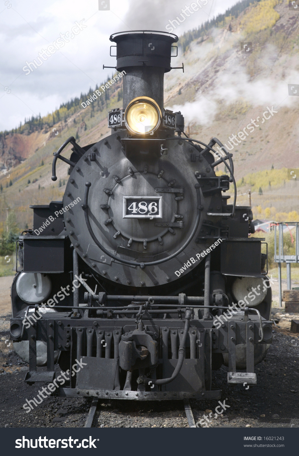 This Photo Front Old Steam Locomotive Stock Photo 16021243 ...