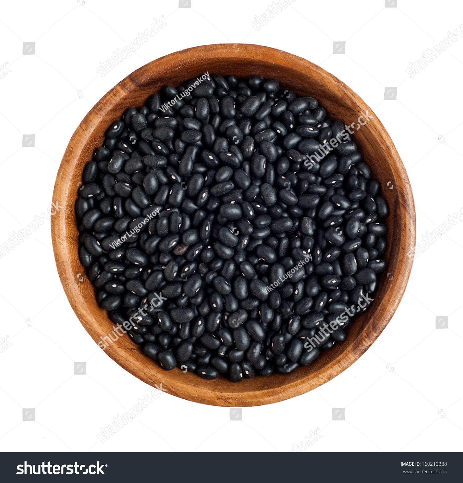 Top View Wooden Bowl Full Black Stock Photo 160213388