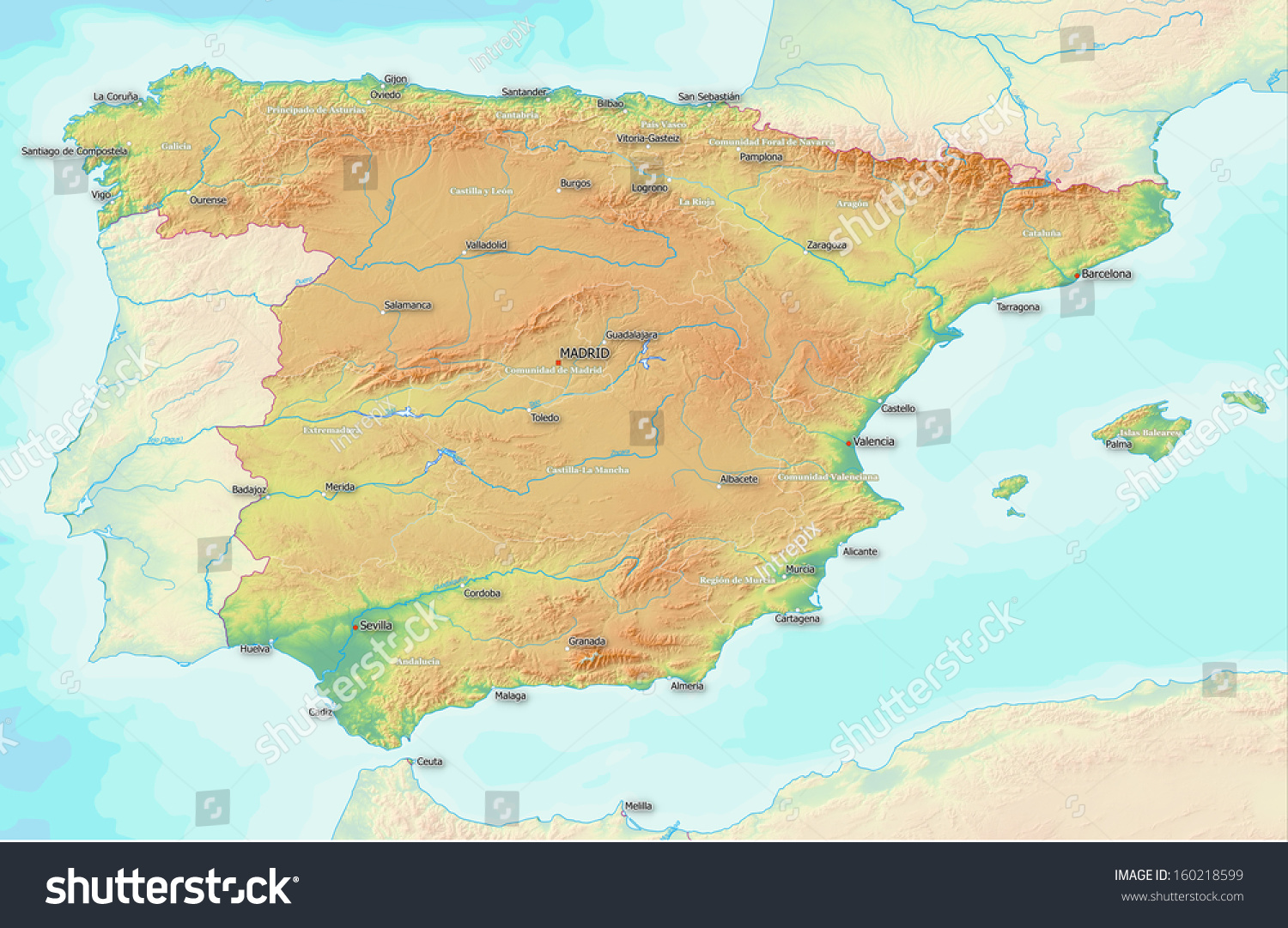 Full Map Of Spain.Map Showing Topography Spain Largest Towns Stock Illustration 160218599