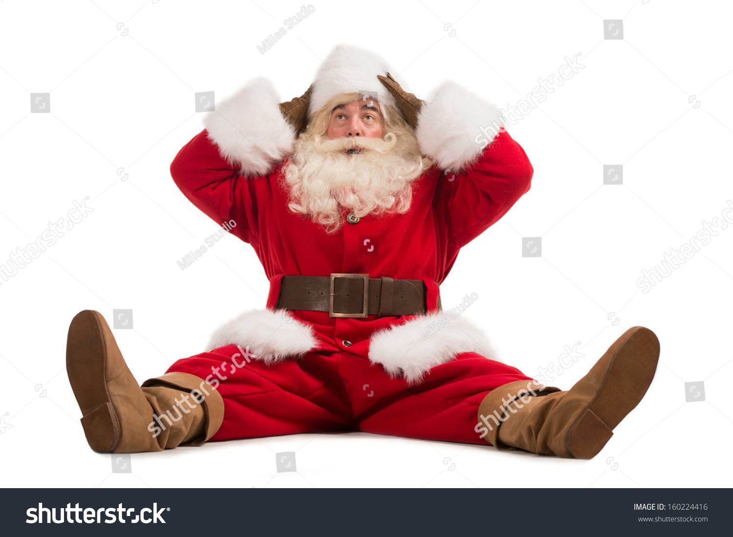 Surprised by Santa Claus stock image. Image of hair