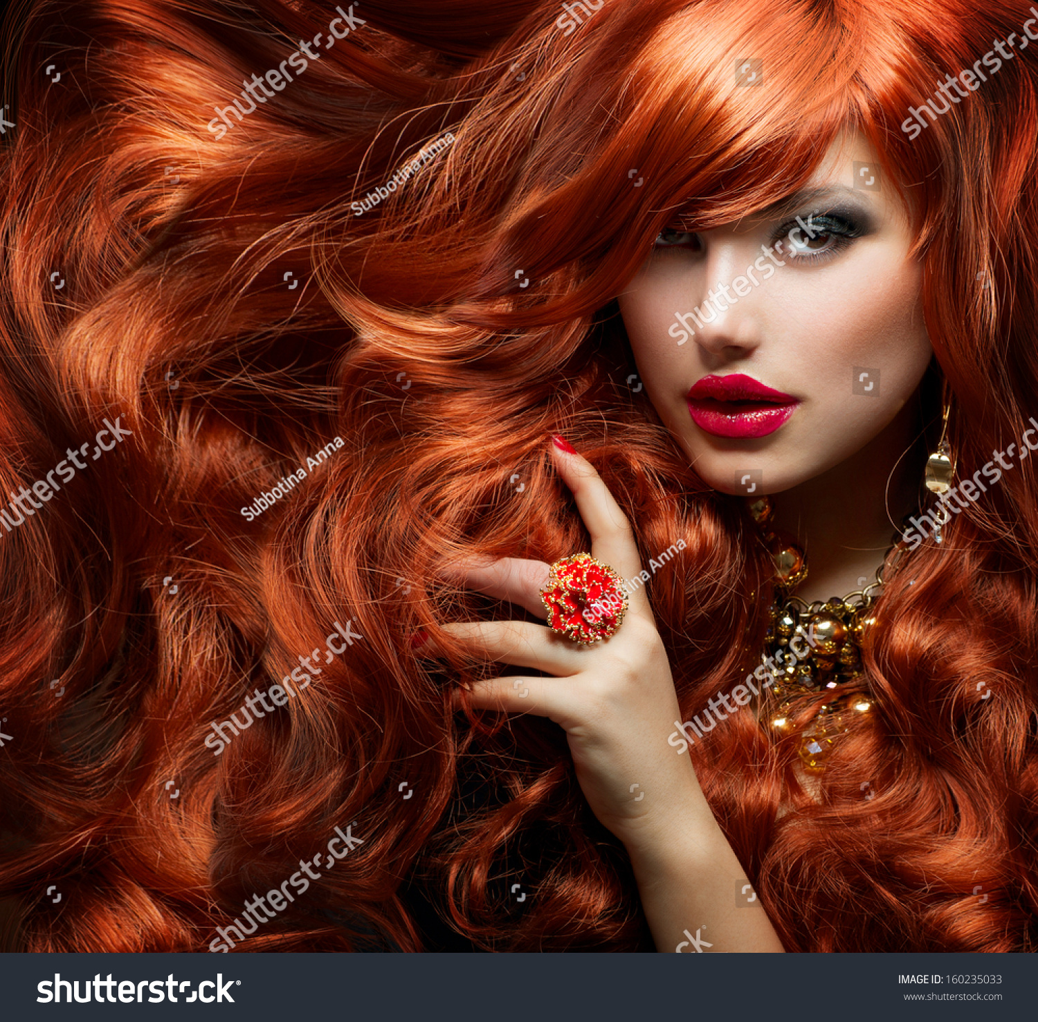 Long Curly Red Hair Fashion Woman Stock Photo 160235033
