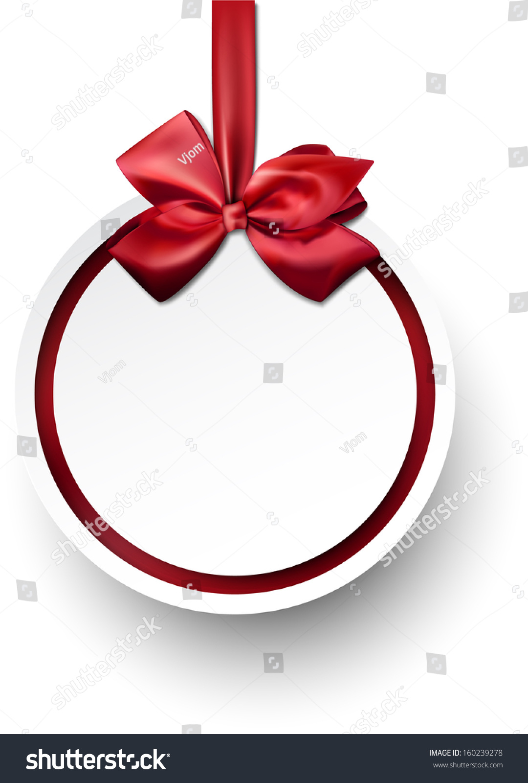 stock-vector-christmas-gift-card-with-red-ribbon-and-satin-bow-vector ...