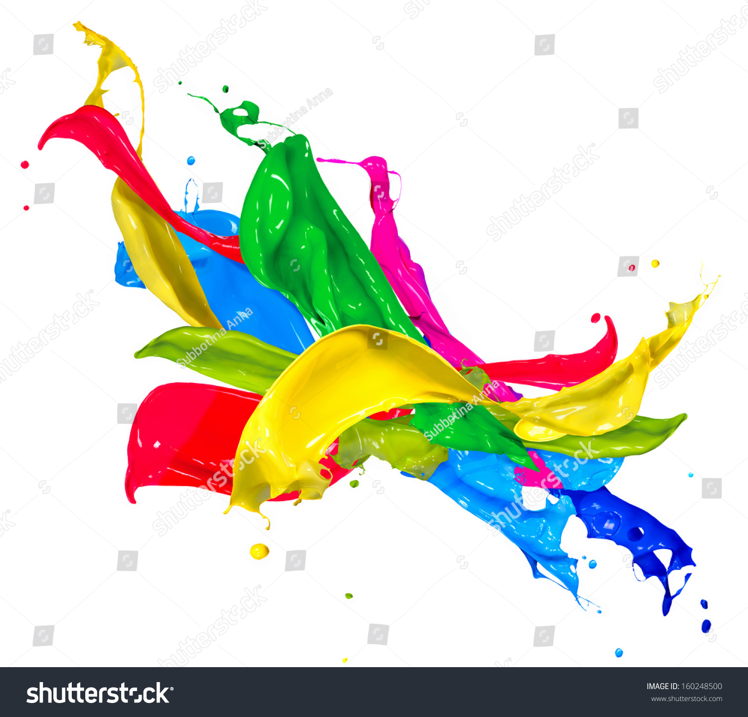 Splash Colorful Room Wall: Colorful Paint Splash Isolated On White Stock Photo
