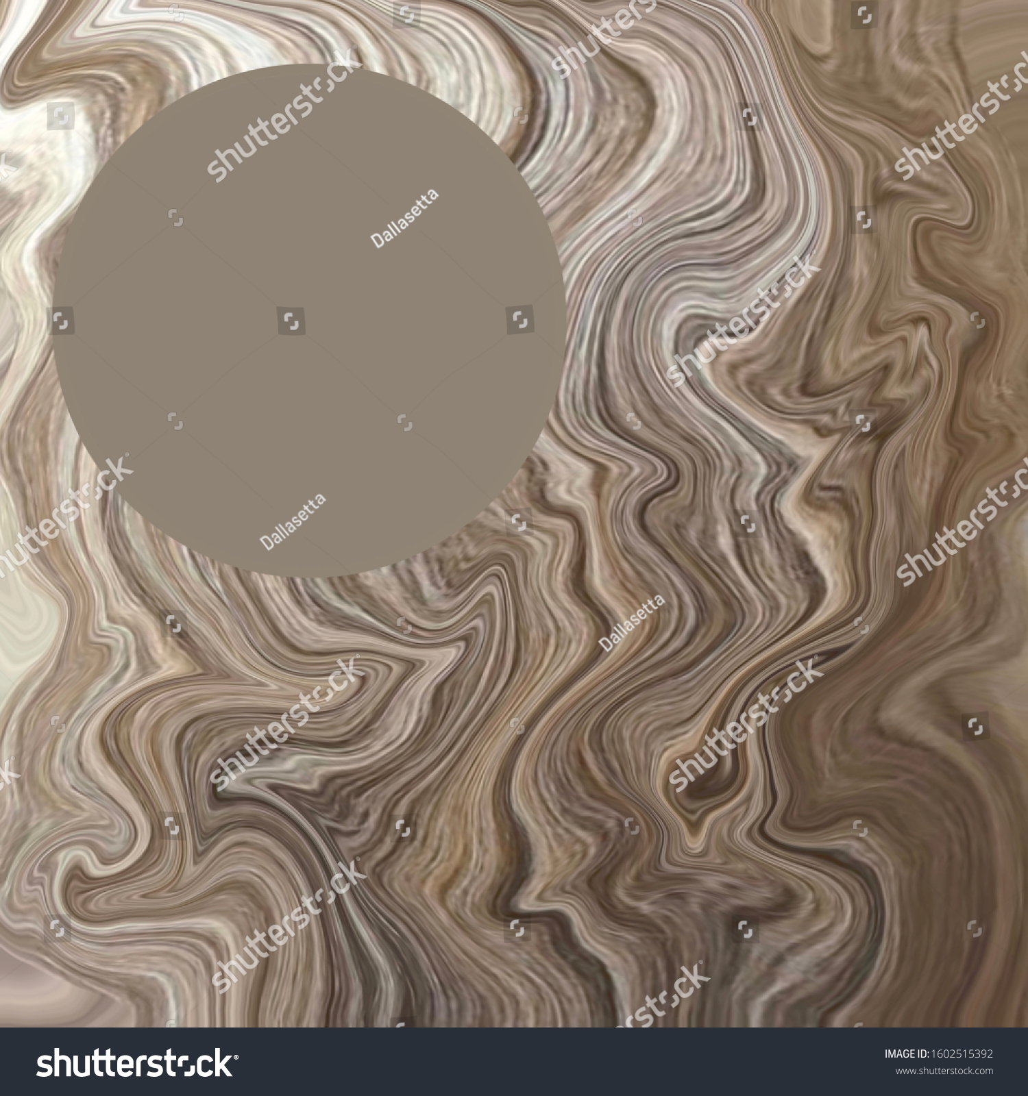 Shades Of Taupe Brown Beige Blurred Marbleised Illustration Background Layout With Solid Filled Blank Round Circle