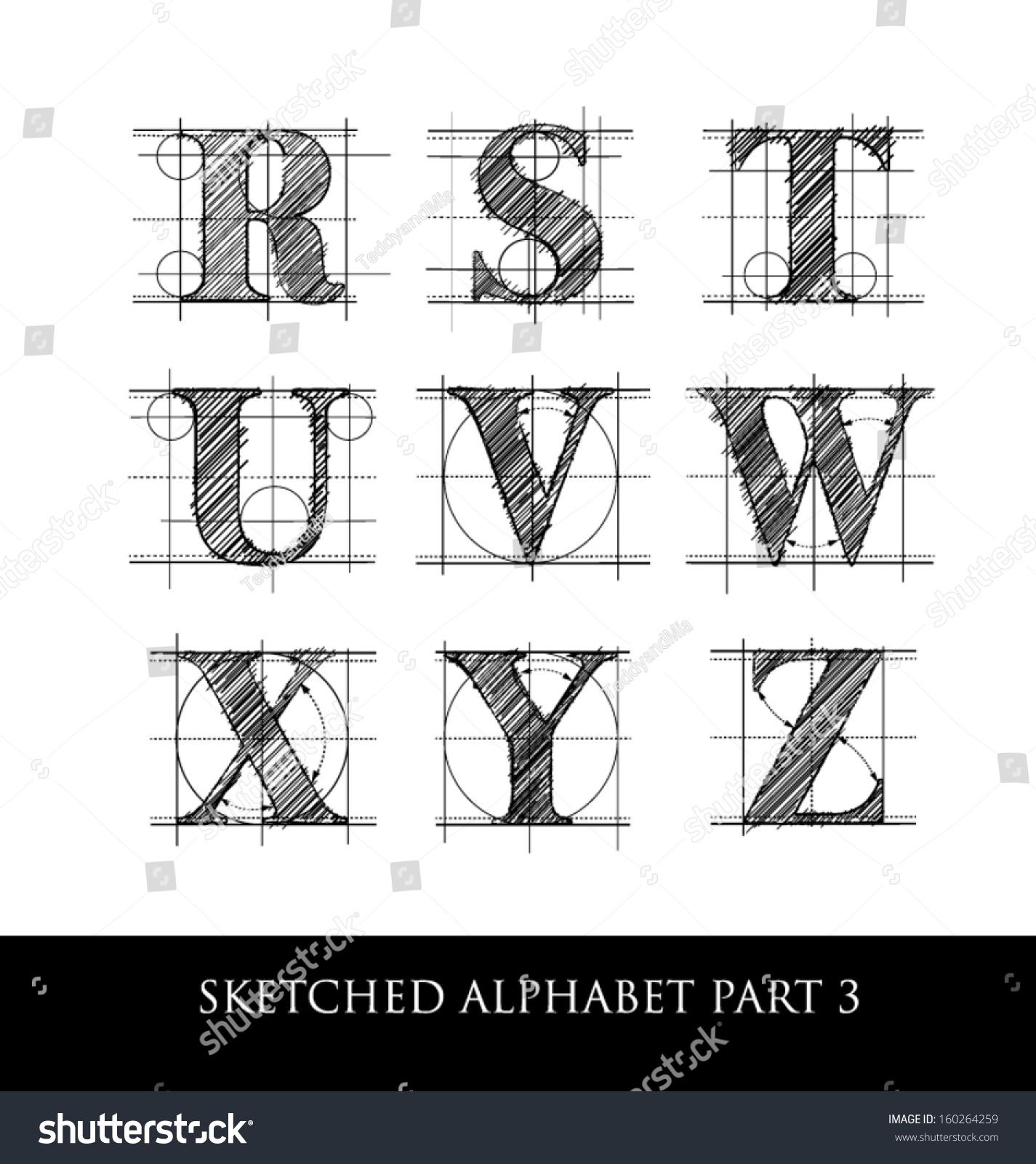 architectural sketched letters set 1 stock vector illustration