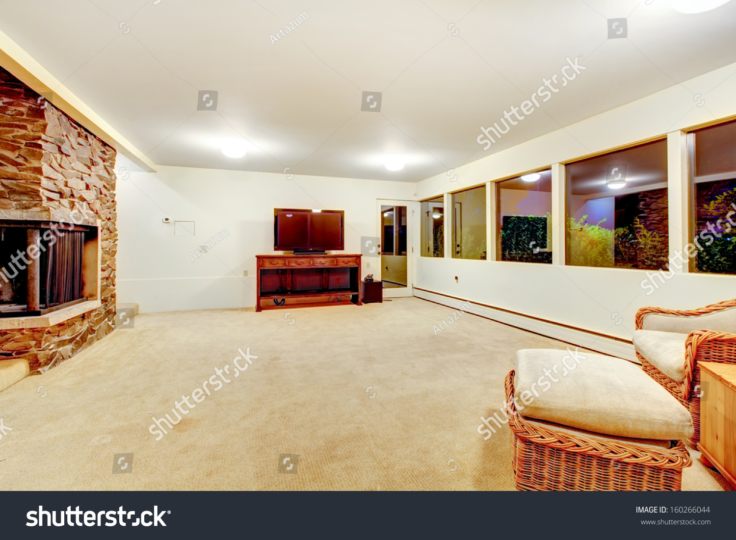 Huge Empty Recreation Room Fireplace Tv Stock Photo (Safe to Use ...