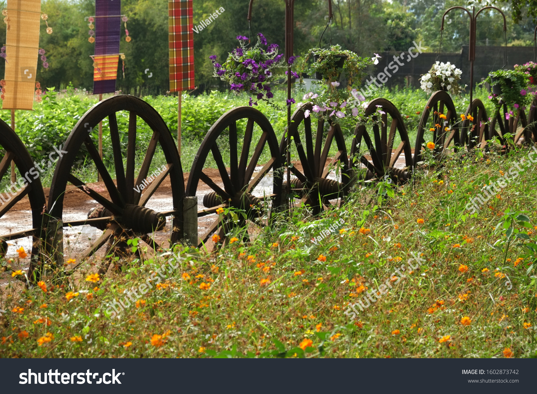 Garden Fence Made Antique Wooden Wagon Stock Photo Edit Now 1602873742