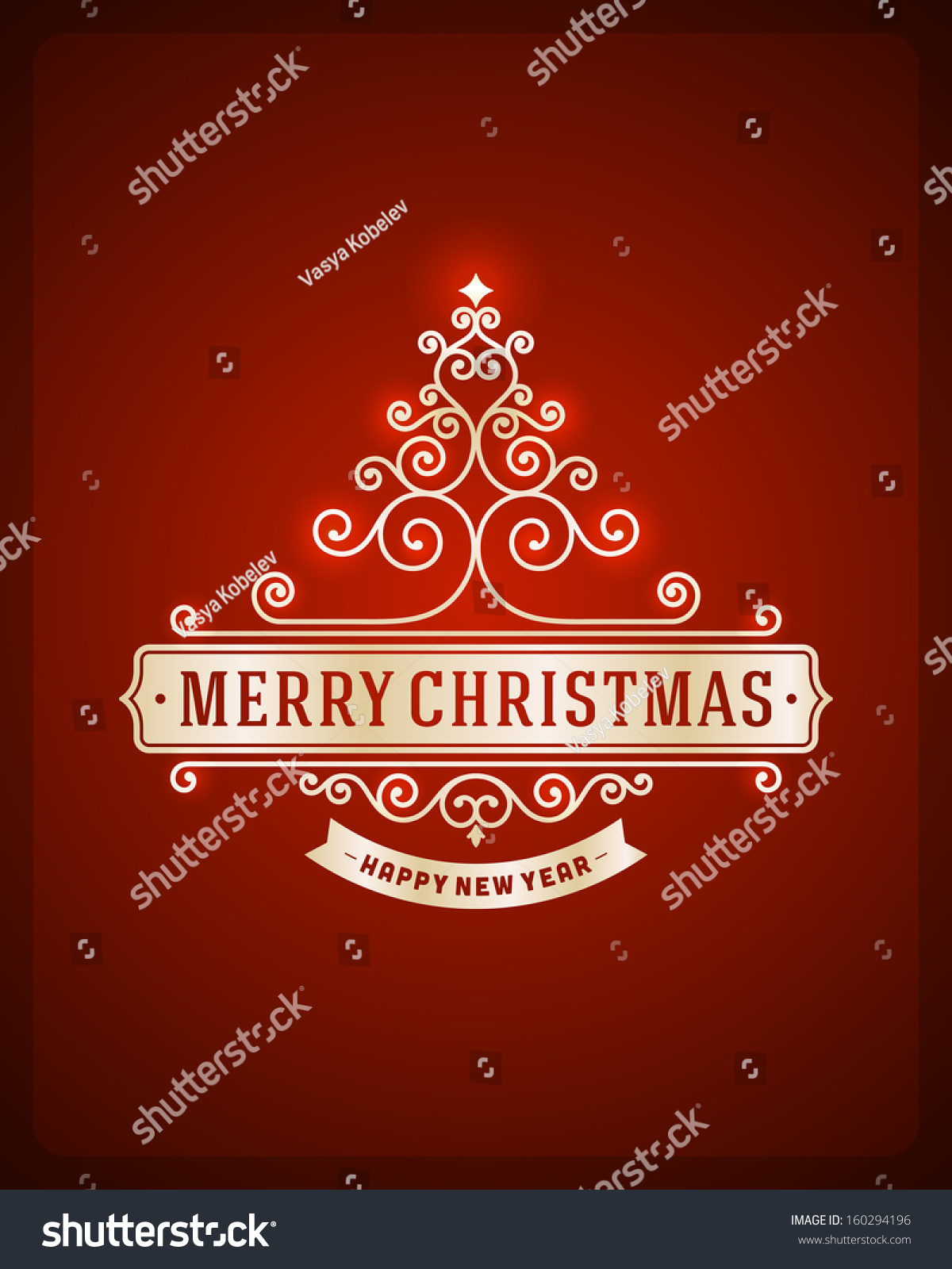Christmas tree from flourishes calligraphic background