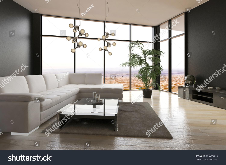 Modern living room interior desert view stock photo for Modern living room with view