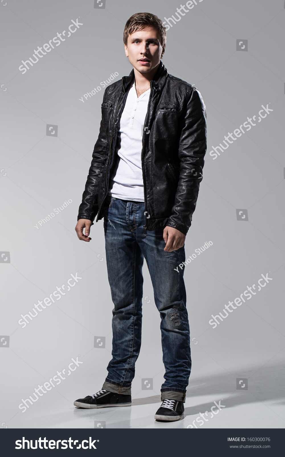 Handsome Man Leather Jacket Jeans White Stock Photo 160300076