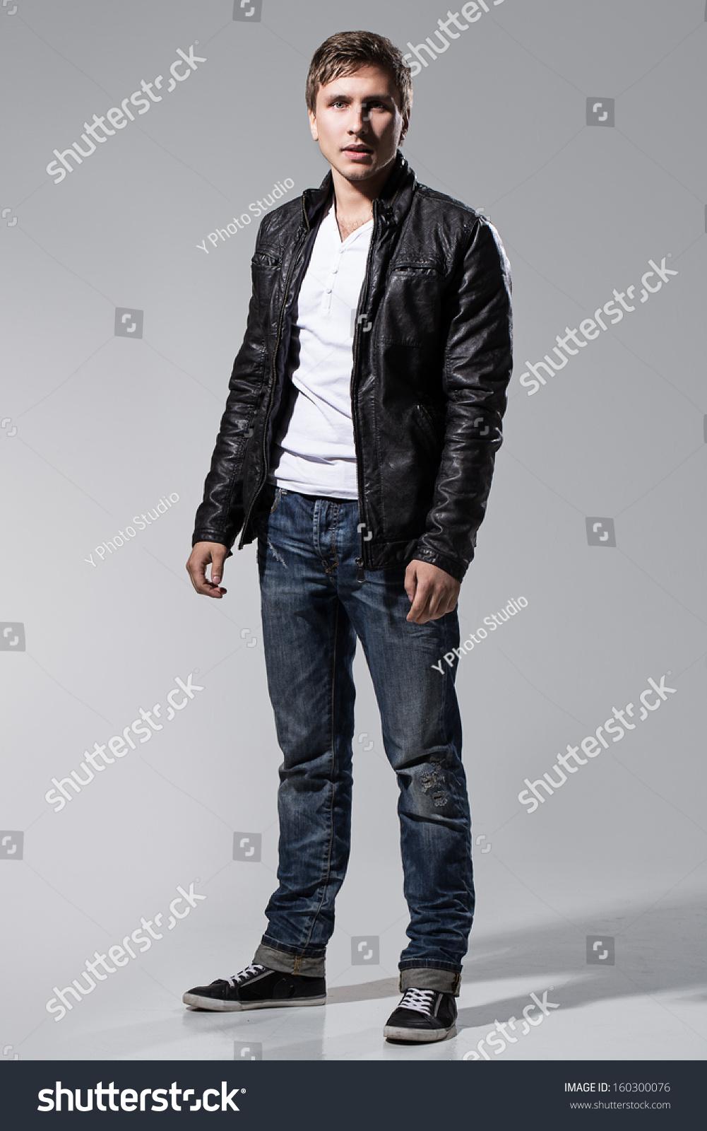 White T Shirt Leather Jacket eIETxp