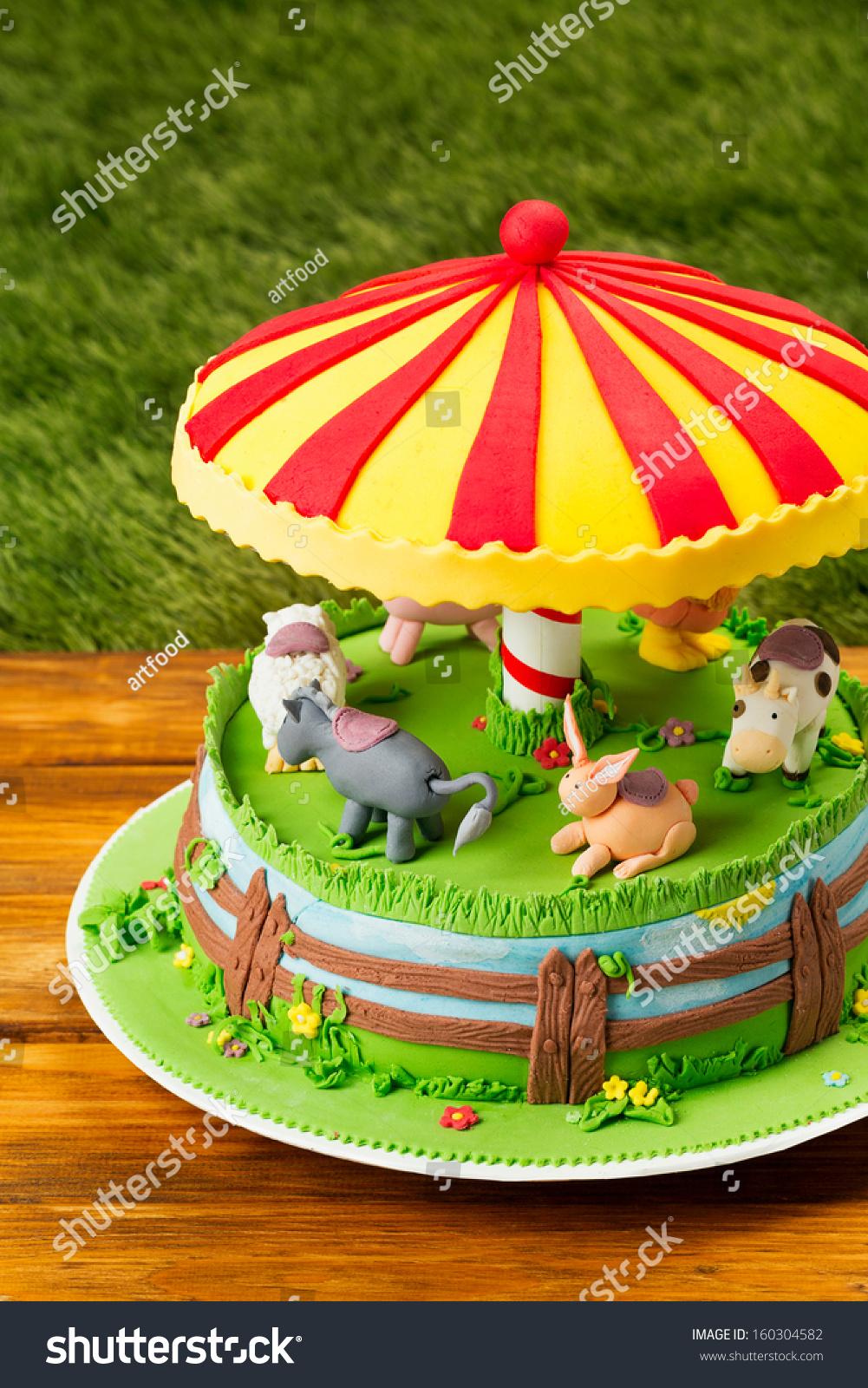 fondant cakefarm themed cake children cake stock photo