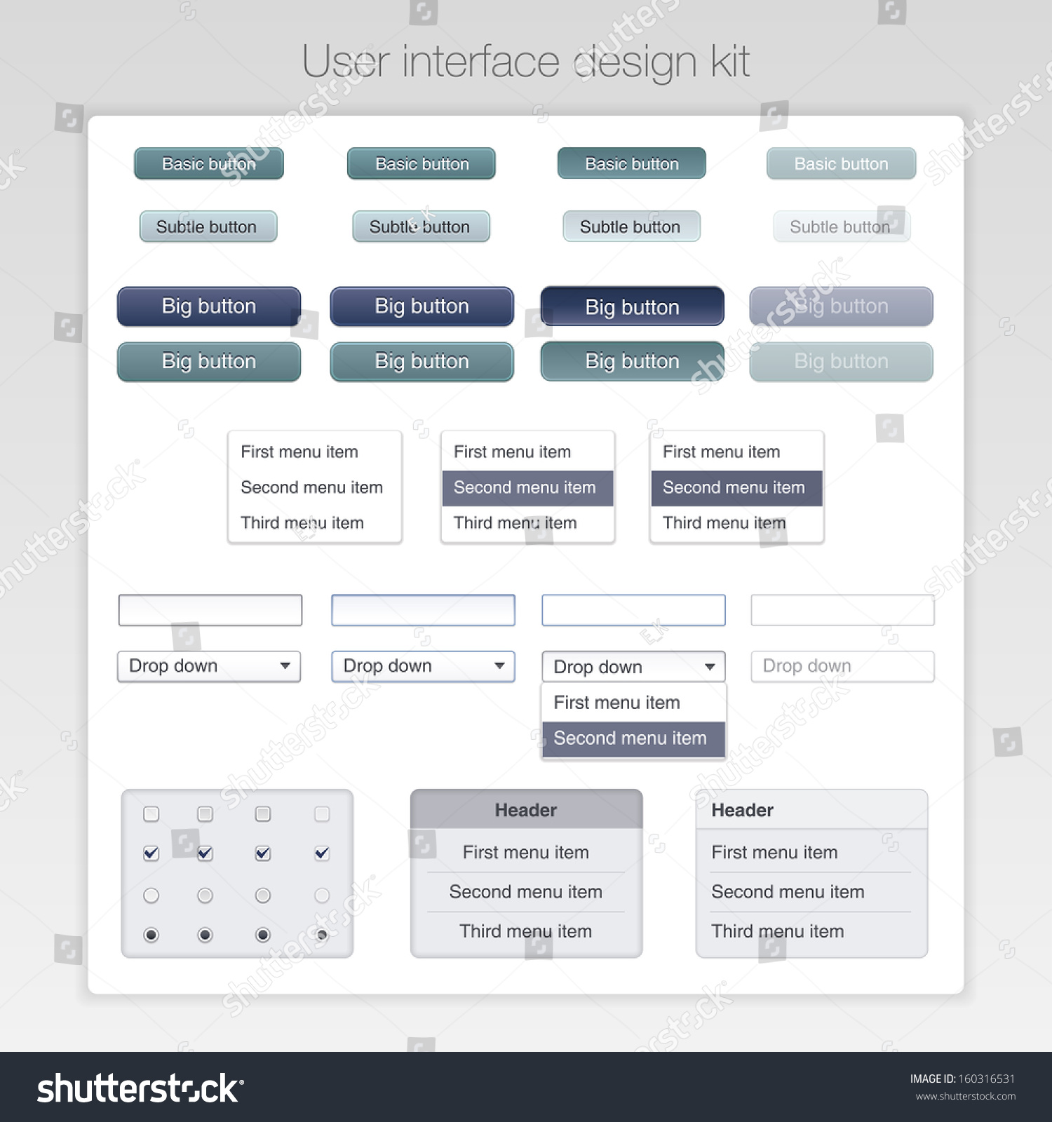 User interface design kit basic ui stock vector 160316531 for User interface design document template