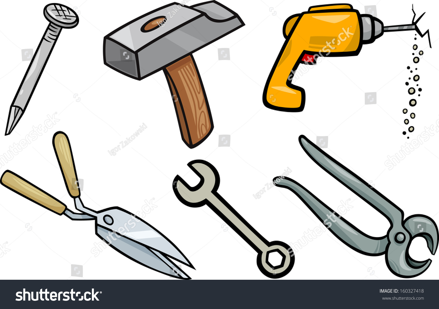 Cartoon Vector Illustration Of Tools Objects Clip Art Set ...