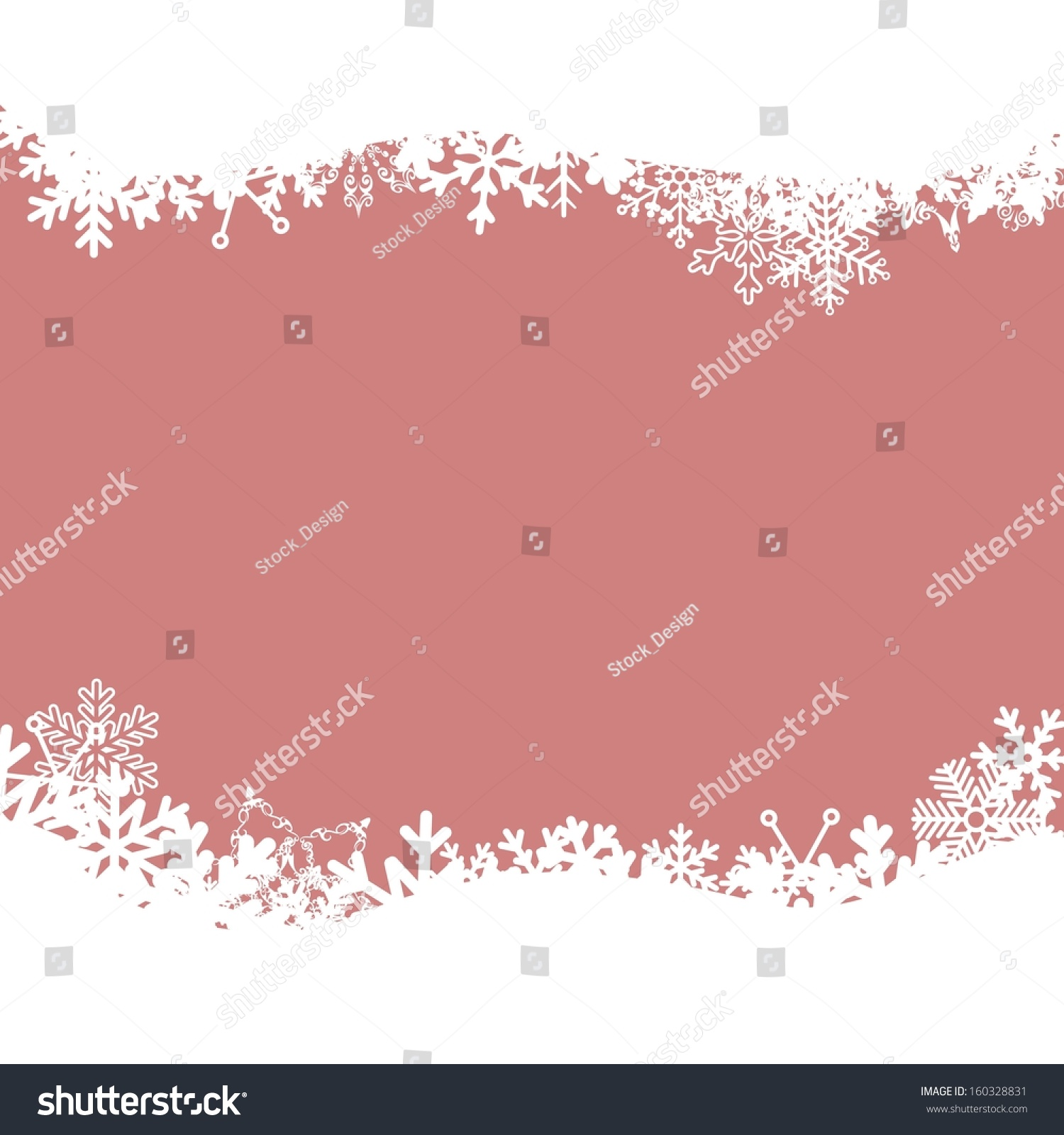 Pink Christmas. Vector background with snowflakes.