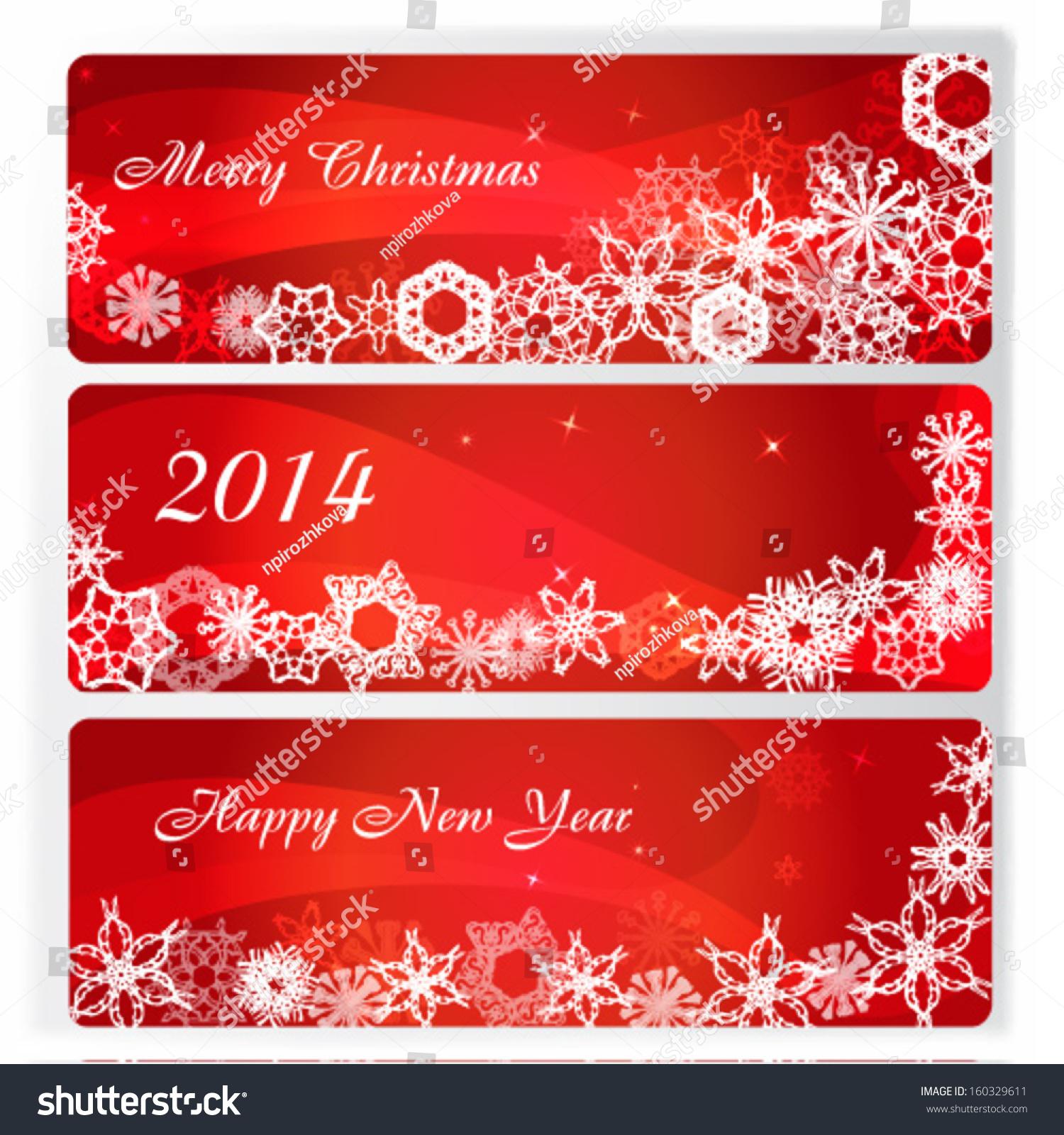 Merry Christmas Headings Stock Vector Bright Elegant Banner Winter Snowflake Christmas