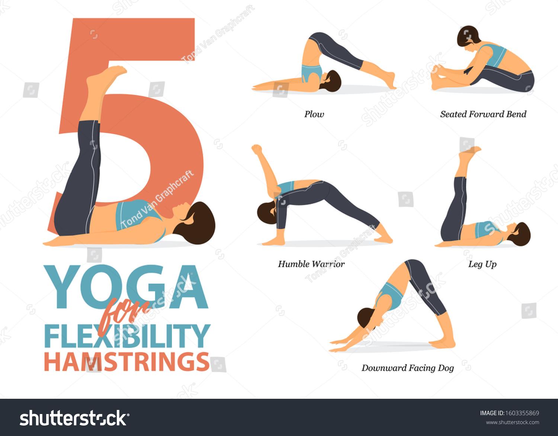 Infographic 5 Yoga Poses Hamstrings Flexibility Stock Vector