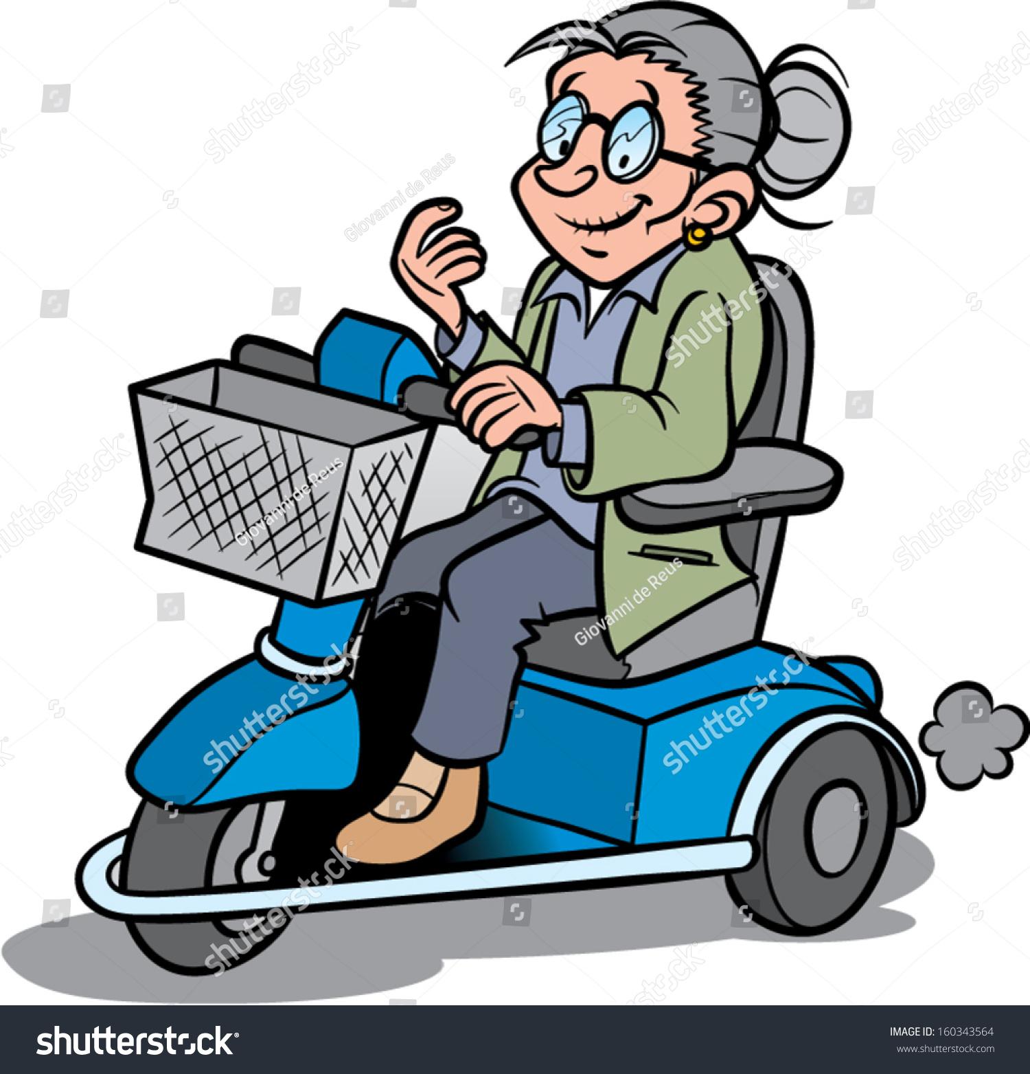 Elderly Woman On Scootmobile Stock Vector 160343564 - Shutterstock