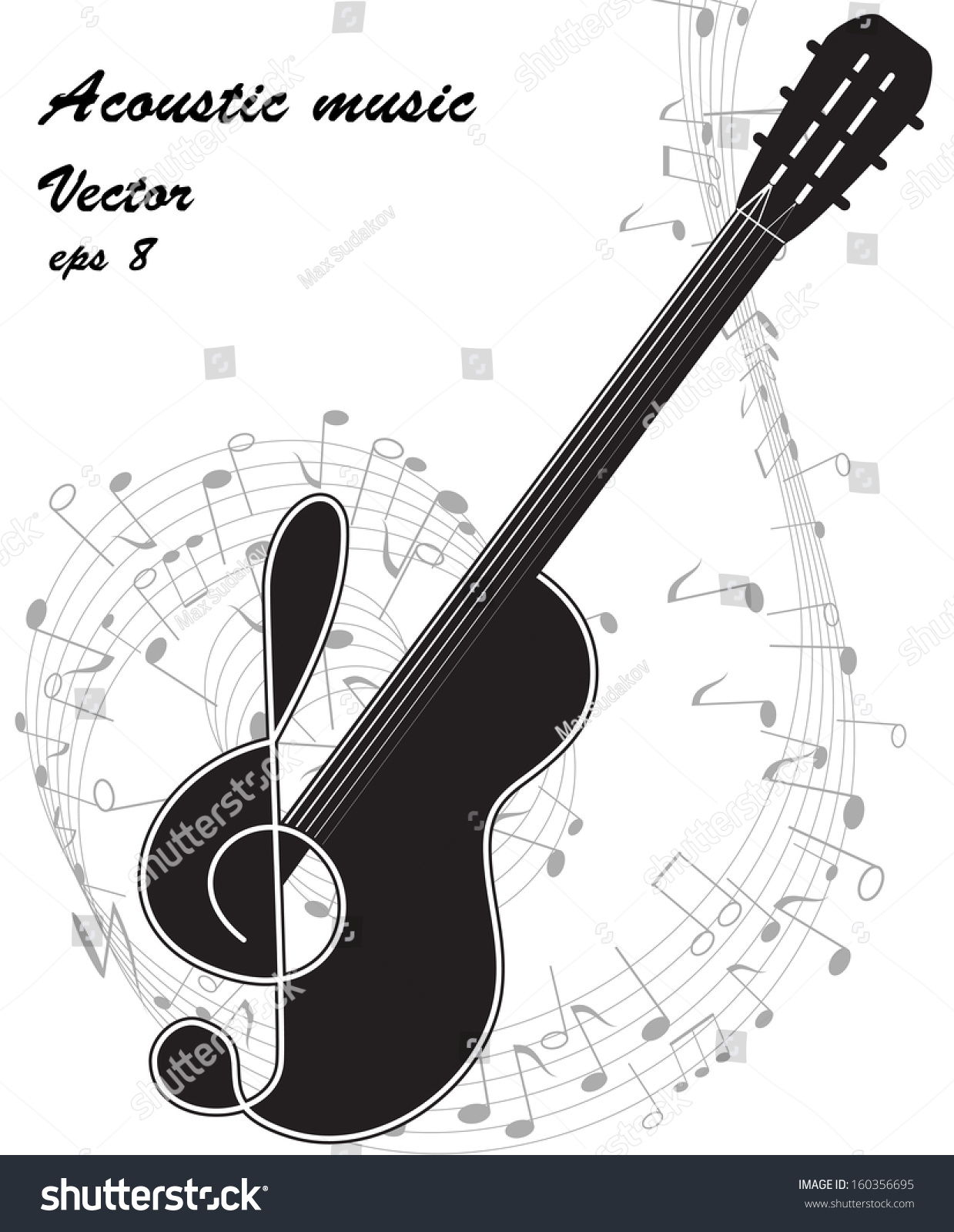 Black Silhouette Guitar Treble Clef On Stock Vector 160356695 ...