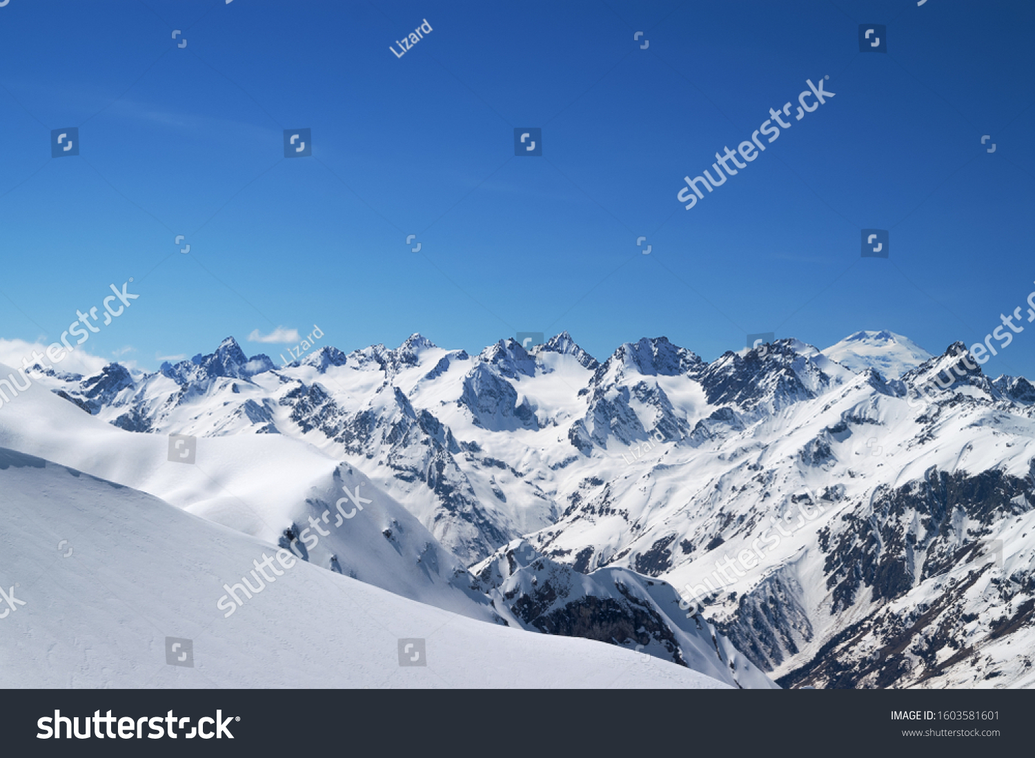 Snow Covered Mountains Snowy Offpiste Slope Stock Photo